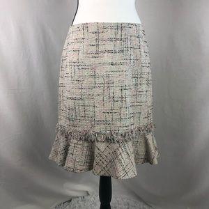 DANA BUCHMAN raw edge tweed skirt size 8